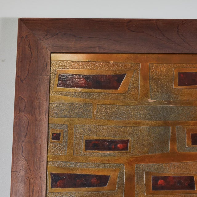 Mid-Century French Brass and Enamel Panel For Sale - Image 10 of 11