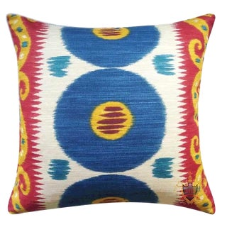 Lee Jofa Emir Cadet Ikat Down Feather Accent Pillow For Sale