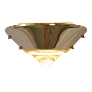 Set of Six Brutalist Style Brass and Murano Glass Sconces or Wall Lamps For Sale