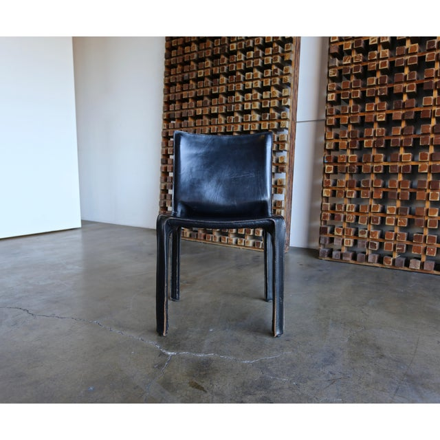 """Black Leather """"Cab"""" Chair by Mario Bellini for Cassina For Sale - Image 11 of 11"""