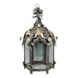 Italian Painted Tole Hanging Lantern For Sale