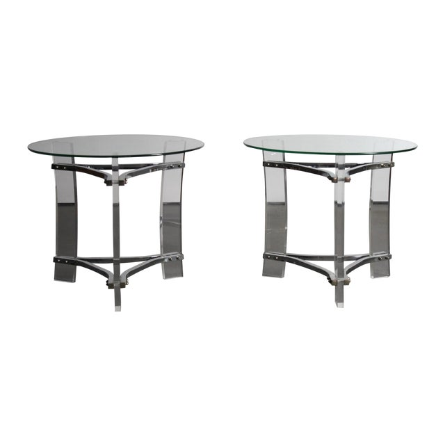 Charles Hollis Jones Lucite End Tables - Pair For Sale