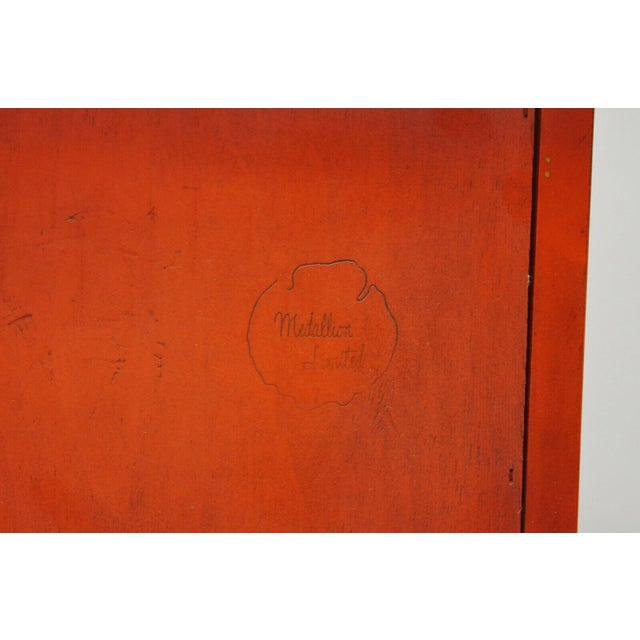 Red Lacquer Medallion Ltd Demilune Chinoiserie Georgian Credenza For Sale - Image 9 of 13