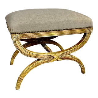 """French """"X"""" Frame Painted Bench W/ Belgium Linen For Sale"""