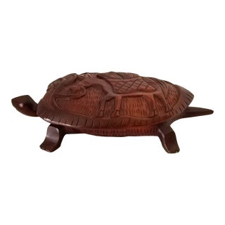 1980s Vintage Rosewood Hand Carved Turtle Box W/ Lid For Sale