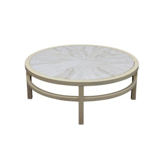 Round Coffee Table With a Travertine Marble Top by Widdicomb For Sale