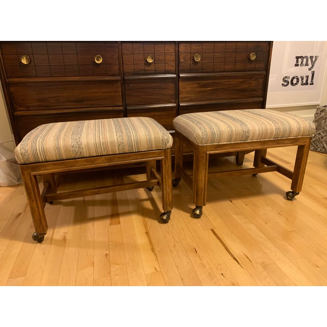 Textile 1980s Vintage Drexel Heritage Walnut Rolling Ottomans/Stools- A Pair For Sale - Image 7 of 7
