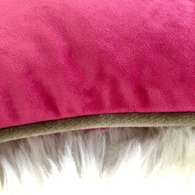 Cerise & Champagne Velvet, Feather Down Toss Pillow, Custom Made For Sale - Image 4 of 7