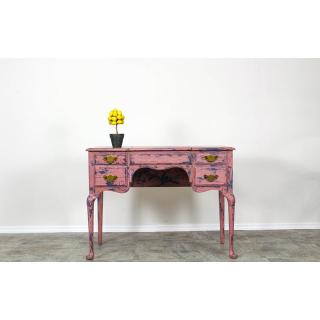 Lovely one of kind shabby chic vanity this lovely vanity was hand painted in two tones, blue and Parisian pink and...