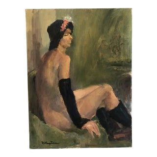 Vintage Mid-Century Woman With Accessories Portrait Painting For Sale