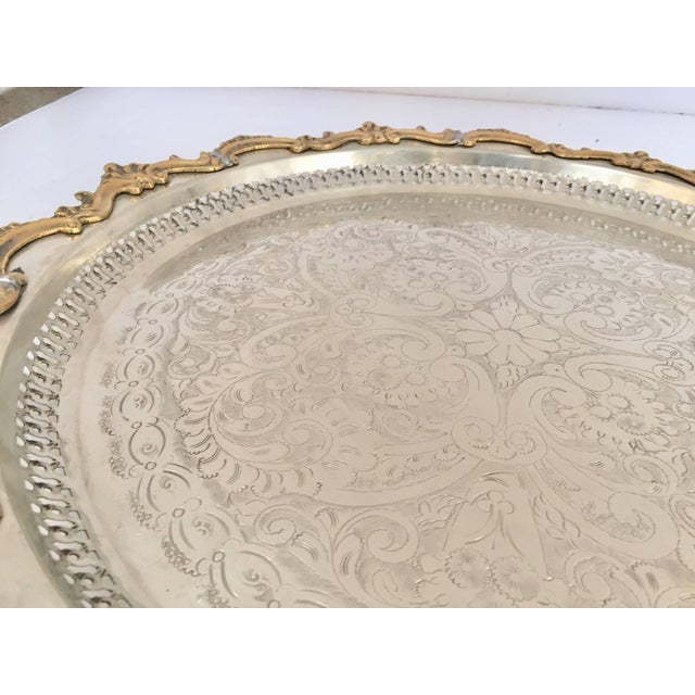 Gold Moroccan Handcrafted Silver Round Tray With Brass Overlay Moorish Designs For Sale - Image 8 of 13
