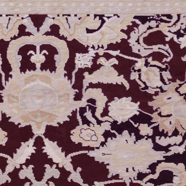 Textile Handwoven Persian Agra Rug For Sale - Image 7 of 8