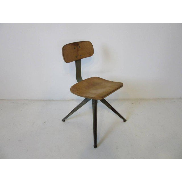 Splayed Leg Industrial Desk Chair in the Style of Prouve or Olsen For Sale In Cincinnati - Image 6 of 6