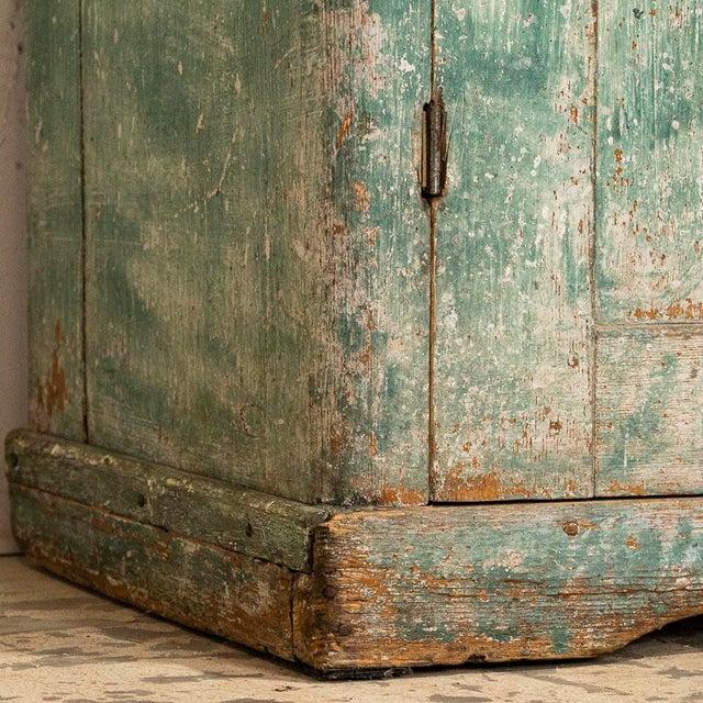 Teal Antique Original Teal Green Folk Art Painted Sideboard For Sale - Image 8 of 11