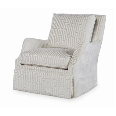 Transitional Century Furniture Cassidy Skirted Swivel Chair For Sale - Image 3 of 3