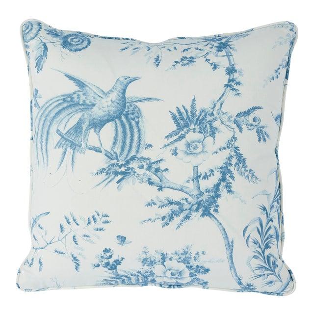 Schumacher Toile De La Prairie Pillow in Blue For Sale