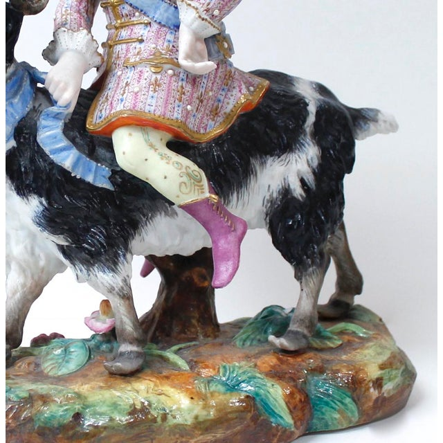 Vion Et Baury Count Bruhl's Tailor, Bisque Porcelain Goat and Rider Figurine For Sale - Image 4 of 9