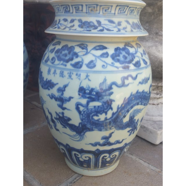 Chinese Blue & White Pagoda Temple Vases - A Pair - Image 4 of 7