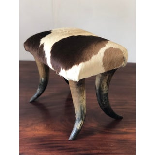 Bullhorn Stool With Brown and White Cowhide Preview