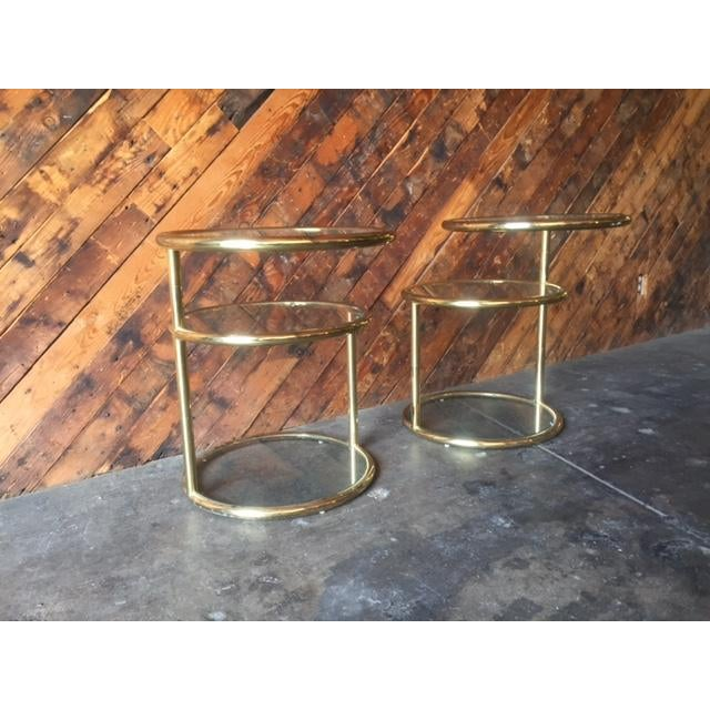 Brass Vintage Swivel Brass Glass Side Tables - A Pair For Sale - Image 7 of 8