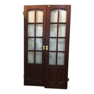 English Glass Doors With Brass Hardware - A Pair For Sale