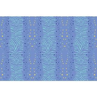 Zebra Palace Blue Linen Cotton Fabric, 6 Yards For Sale