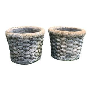 Basketweave Concrete Planters - a Pair For Sale