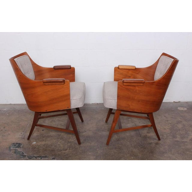 1950s Rare Pair of Lounge Chairs by Edward Wormley for Dunbar For Sale - Image 5 of 10