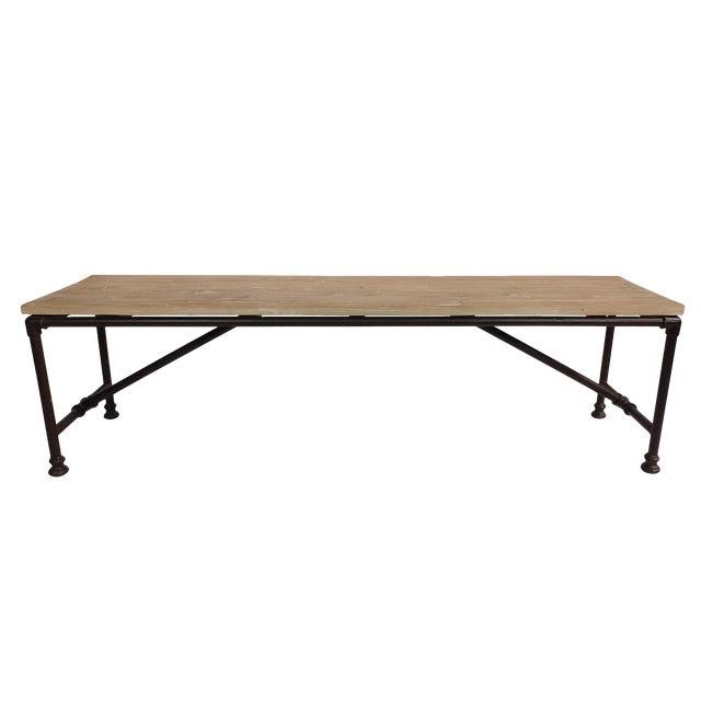 Reclaimed Wood Coffee Table Stainless Steel Legs: Reclaimed Wood Coffee Table W/ Metal Pipe Legs