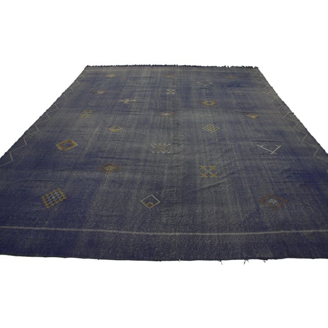 """A vintage, Moroccan cactus silk kilim that is 8' 11"""" x 12' 6"""". This is flat woven."""