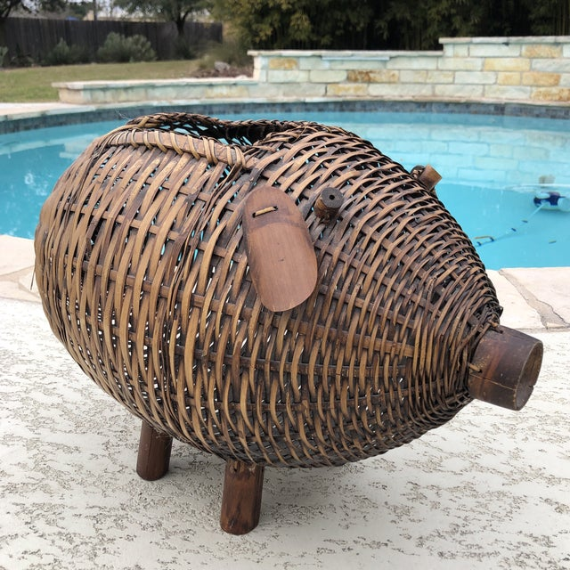 Mid Century Bamboo and Wicker Pig Basket For Sale - Image 11 of 13