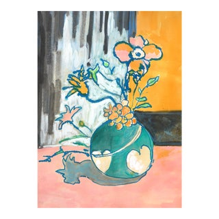 Contemporary Drawing, Flowers in a Heart Vase For Sale
