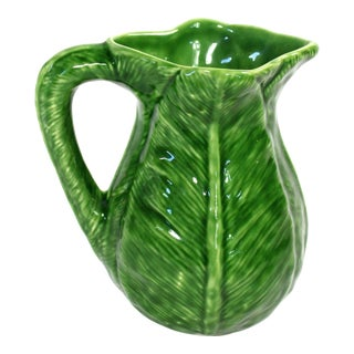 Vintage Green Cabbage Leaf Majolica Pitcher For Sale