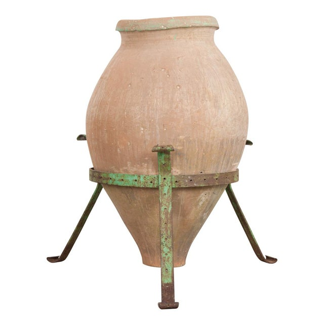 French 19th Century Terracotta Olive Jar on Painted Wrought-Iron Stand For Sale - Image 13 of 13