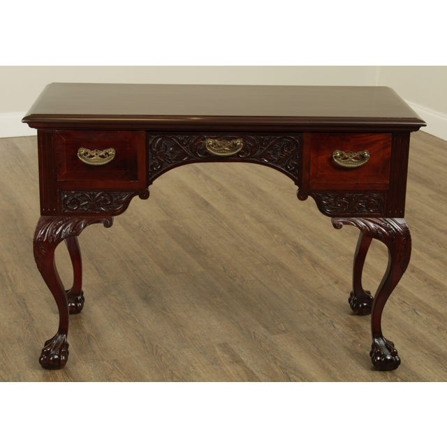 High Quality Antique 19th Century Carved Solid Mahogany Vanity Table with Dovetailed Drawers and Brass Hardware Store...