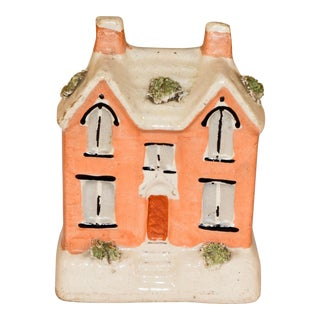 19th C Staffordshire Cottage Bank For Sale