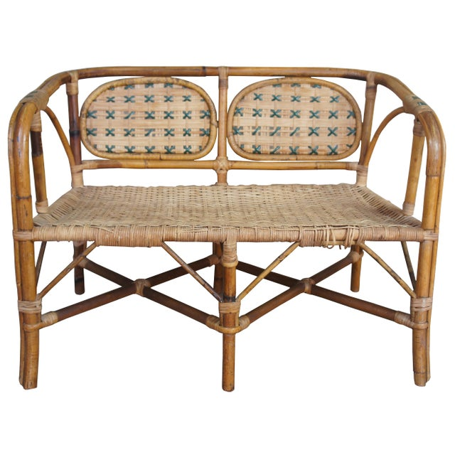 Antique Child's Rattan Cained Bamboo Settee For Sale - Image 11 of 11