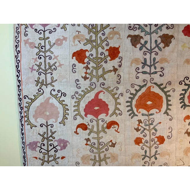 Silk Antique Suzani Panel Wall Hanging For Sale - Image 7 of 13