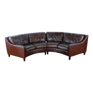 Modern Brown Leather Sofa For Sale