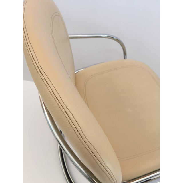 1970s Vintage Gastone Rinaldi for Rima Italian Chrome and Leather Chairs- Set of 4 For Sale - Image 10 of 11