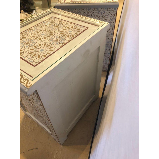 Moorish Style White Blue-Gray and Burgundy Night Stands - a Pair For Sale - Image 10 of 12
