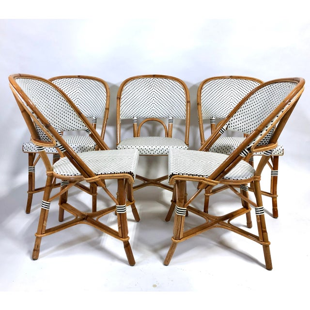 Maillot French Bistro Woven Bamboo Rattan Chairs—Set of 5 For Sale - Image 13 of 13