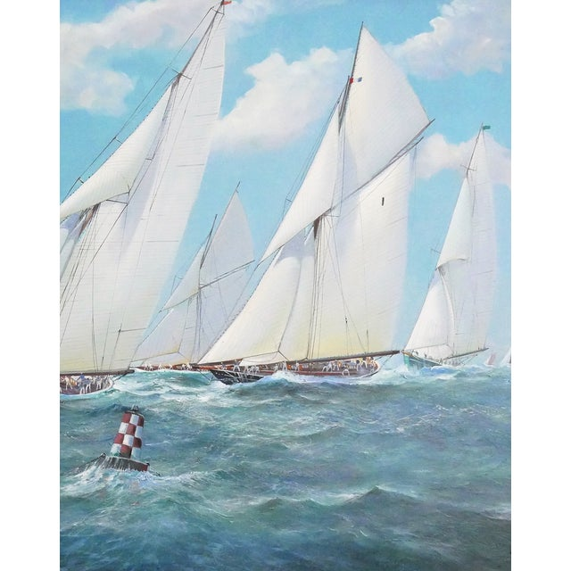 Superb quality large marine yacht racing scene oil on canvas, by listed British artist, Michael J Whitehand (1941 - ),...