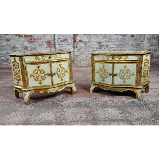 """Antique Italian Florentine Small Gilt-wood Commodes -A pair. size 24 x 13 x 16"""" A beautiful piece that will add to your..."""
