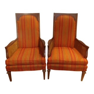 Mid Century Cane and Upholstered Armchairs- A Pair For Sale