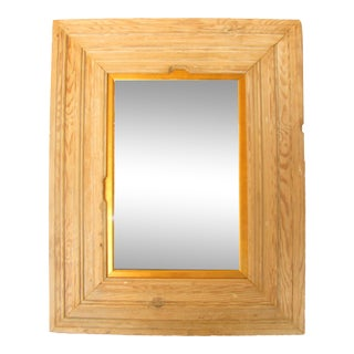 European Limed Pine Mirror With Gilt Liner For Sale