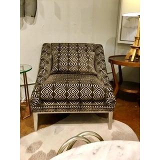 Vangaurd Co. Modern Geometric Chocolate Brown Cut Velvet Chair Preview