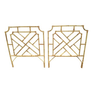 1960s Chippendale Design Burnt Bamboo Palm Beach Style Twin Headboards - a Pair For Sale