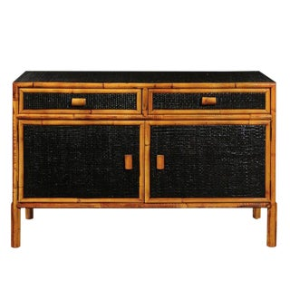 Elegant Vintage Black Lacquer Cane Cabinet With Bamboo Accents, Circa 1970 For Sale