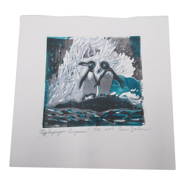 Vintage Lithograph Titled: Galapagos Penguins Signed by the Artist: Ann Zahn For Sale